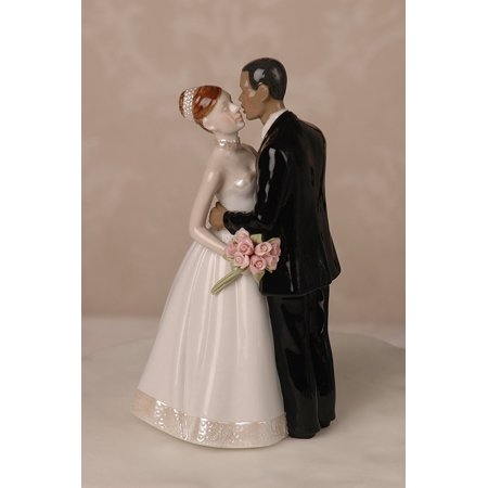 Porcelain Interracial Bi-racial Wedding Cake Topper Ethnic African American Black Groom White Caucasian Brunette Hair Bride - Brunette Bride Cake Topper