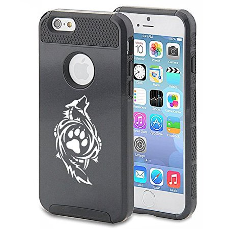For Apple iPhone 7 Shockproof Impact Hard Soft Case Cover Tribal Wolf Paw (Black)