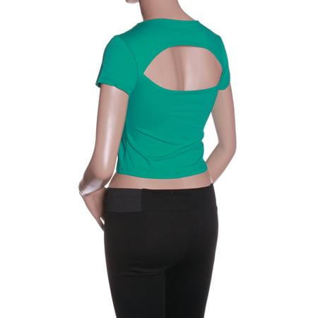 Emmalise Women Athletic Open Back Scoop Neck Cap Sleeves Crop Top   Junior Sizes