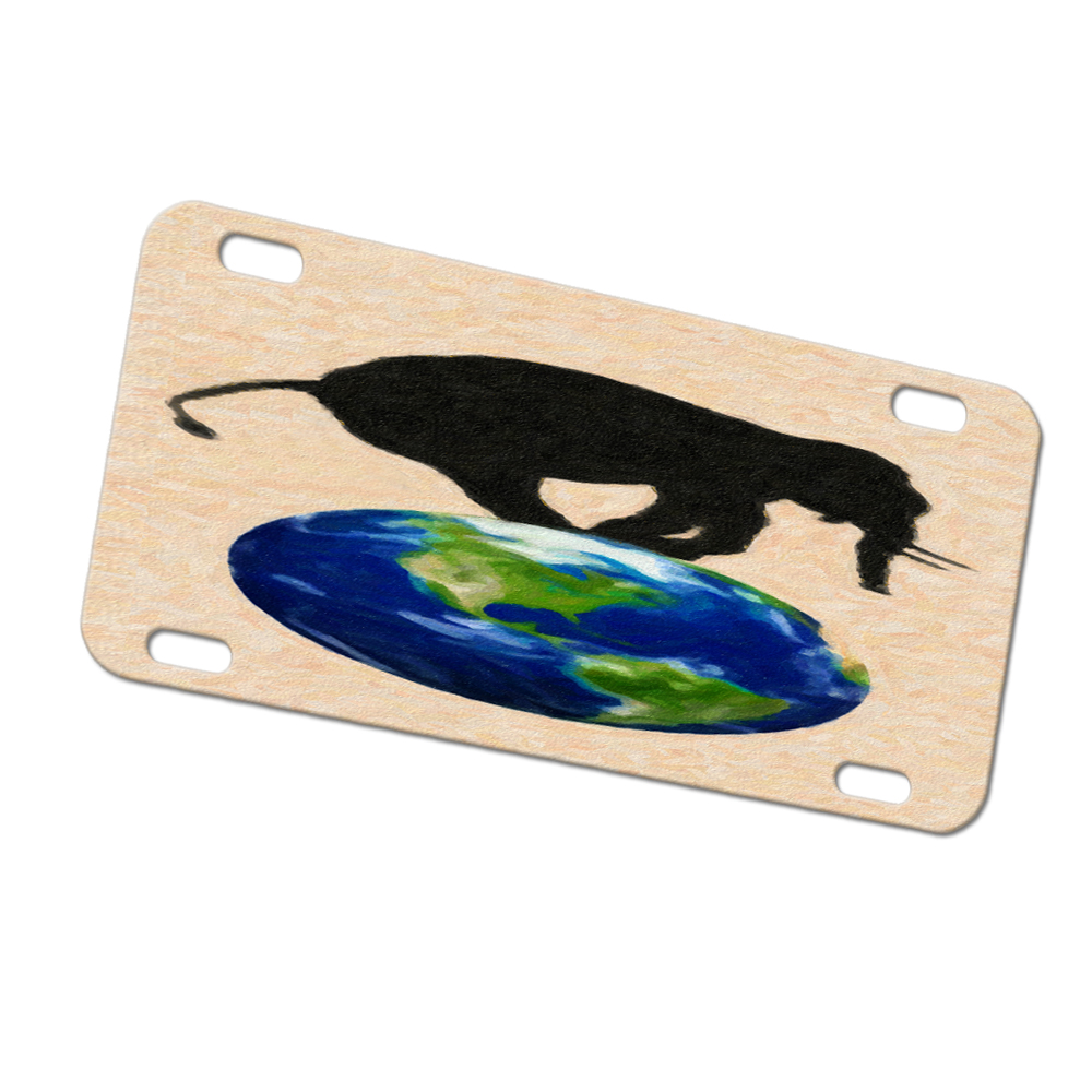 KuzmarK Automobile Car Tag License Plate -  Elephant Wildlife Earth Painting