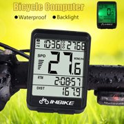 IN321 Bicycle Odometer Professional Wireless Waterproof Backlight Cycling Bike Digital Computer Speedometer LCD Stopwatch Day-Night Backlight For Outdoor Sports,Black