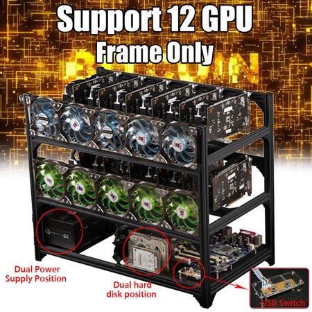 Black Aluminum Open Air Mining Frame Rig Graphics Case DIY With USB Switch  For 12 Mining Case GPU ETH ZEC BTC Miner Machine