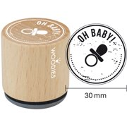 """Woodies Mounted Rubber Stamp 1.35""""-Oh Baby"""