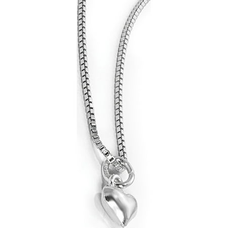 Sterling Silver 14 inch Puffed Heart Necklace w/Pink Gift Pouch