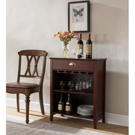 Waylon Dark Cherry Wood Contemporary Storage Wine Bottle & Glasses Cabinet Console Table With (Eyeglass Storage Drawer)