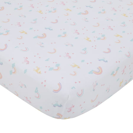 Little Love by NoJo Rainbow Unicorn Pink, Aqua, Yellow and White Fitted Crib Sheet