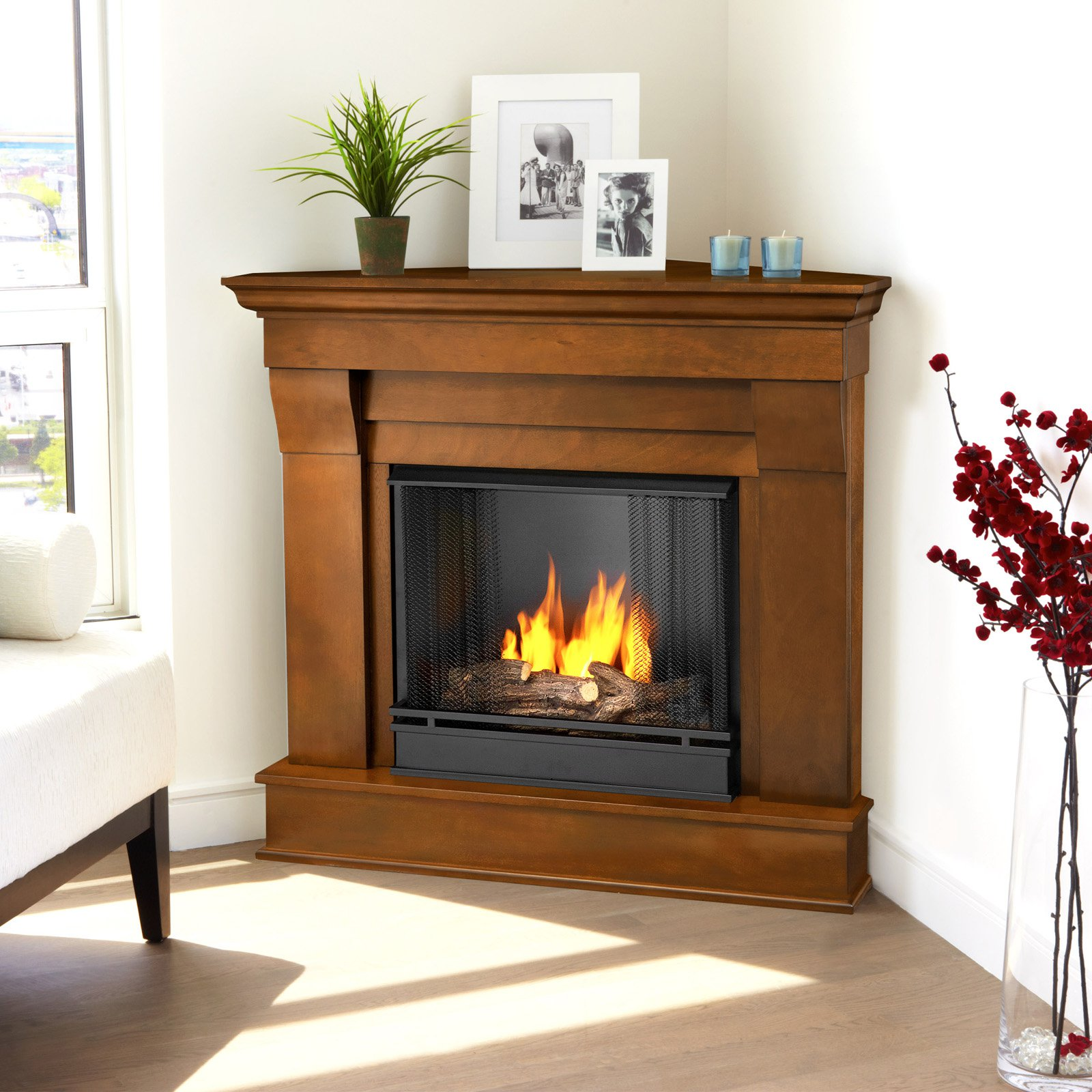 Free Shipping. Buy Real Flame Chateau Corner Ventless Gel Fireplace - Espresso at Walmart.com
