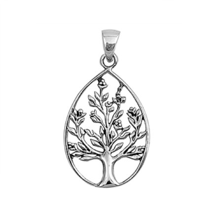 Sterling Silver Teardrop Tree Of Life Pendant (Jasper Teardrop Pendant)