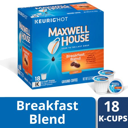 Maxwell House Light Roast Breakfast Blend Coffee K Cup Pods, Caffeinated, 18 ct - 5.57 oz - Roast Espresso Coffee Pods