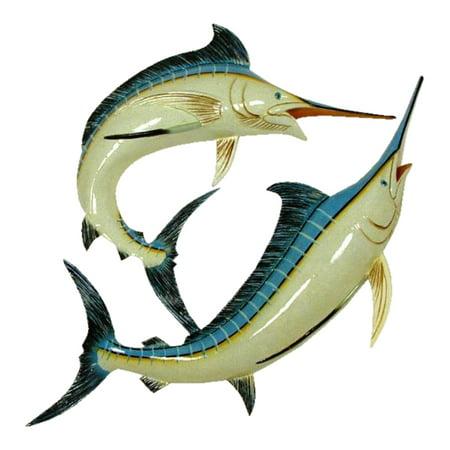 Double Marlin Replica Nautical Sea Fishing Wall Decor