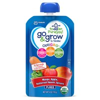 Go & Grow by Similac Fruit and Veggie Pouches with OptiGRO, Mango, Apple, Butternut Squash, Spinach Puree, For Toddlers, Organic Baby Food, 4 ounces