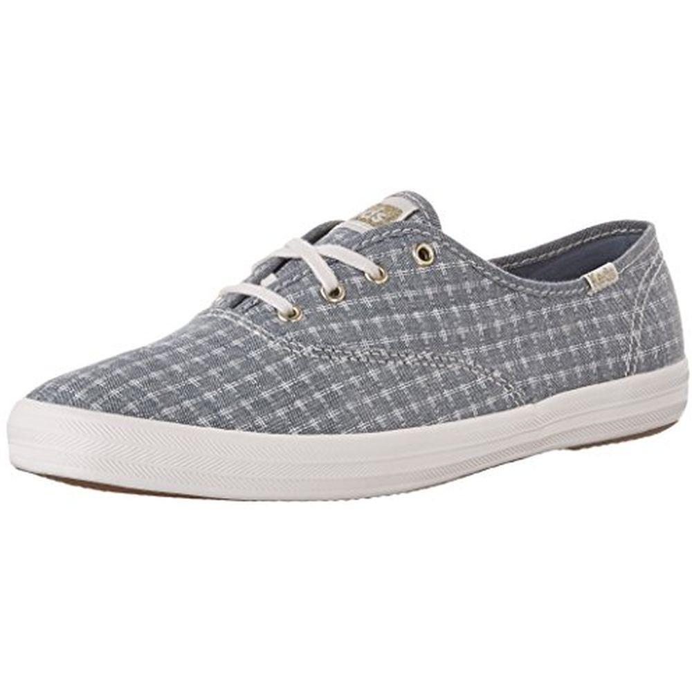 Keds WF56418 Women's Champion Foil Ticking Dot Fashion Sneaker, Dark Blue, 8 M US by Keds