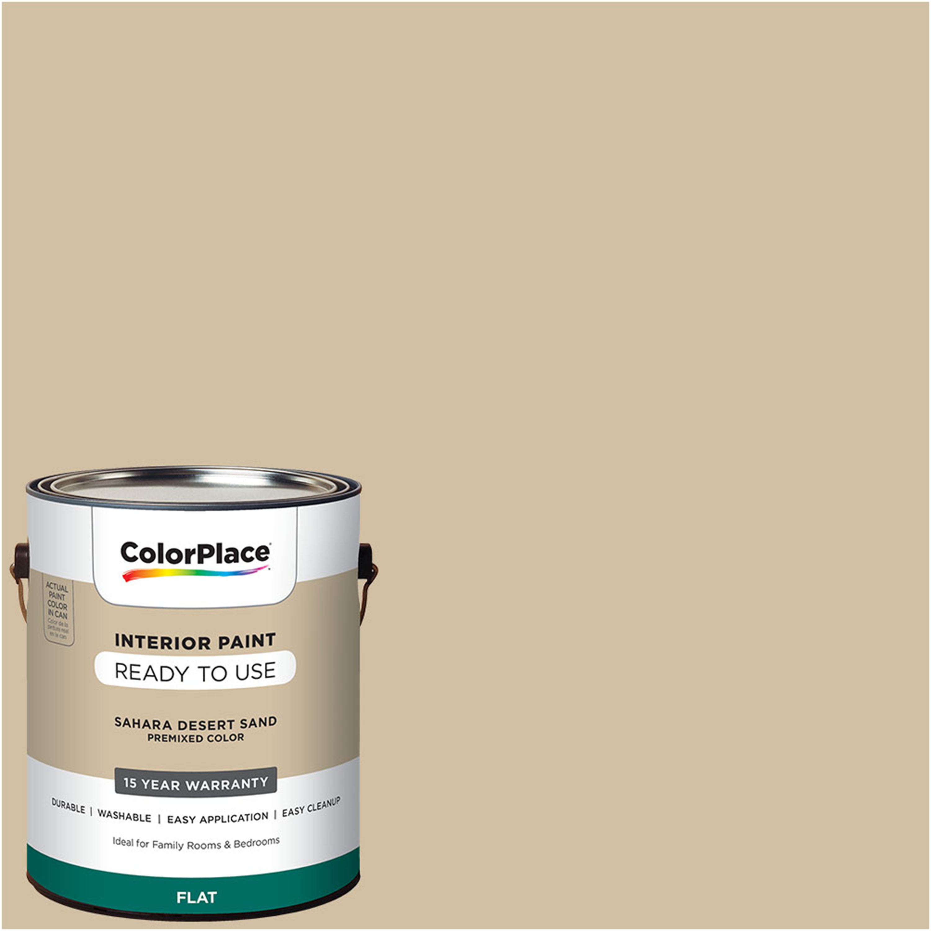 ColorPlace Pre Mixed Ready To Use, Interior Paint, Sahara Desert Sand, Flat Finish, 1... by PPG Architectural Coating