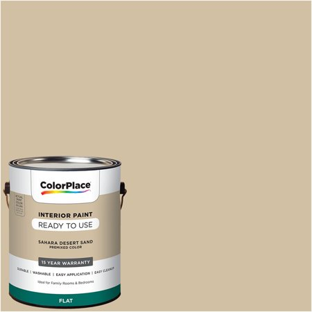 ColorPlace Pre Mixed Ready To Use, Interior Paint, Sahara Desert Sand, Flat Finish, 1