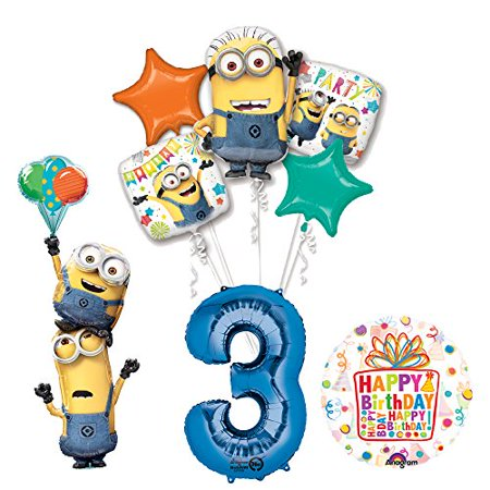 Minion Decoration Ideas (Despicable Me 3 Minions Stacker 3rd Birthday Party Supplies and balloon)