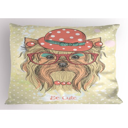 Yorkie Pillow Sham Be Cute Portrait of an Adorable Dog with Earrings Necklace Glasses Hat Makeup, Decorative Standard Queen Size Printed Pillowcase, 30 X 20 Inches, Pale Brown Coral, by Ambesonne