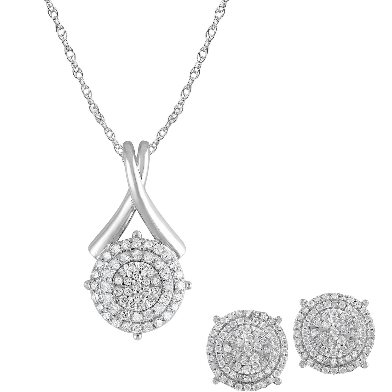 1 Carat T W Diamond Sterling Silver Pendant And Earrings Three Piece Box Set