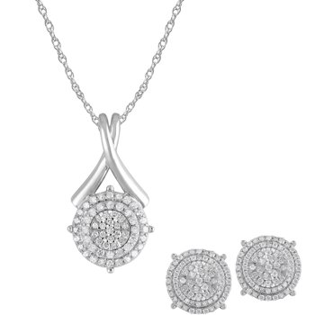 1-Total Carat Silver Pendant and Earrings Set