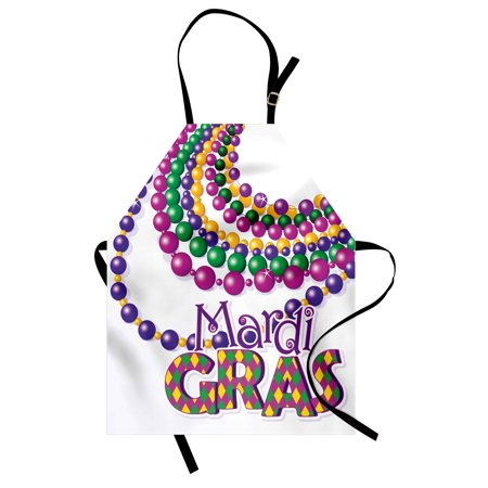 Party Bib - Mardi Gras Apron Colorful Beads Party Necklaces with Mardi Gras Calligraphy Patterned Design, Unisex Kitchen Bib Apron with Adjustable Neck for Cooking Baking Gardening, Multicolor, by Ambesonne