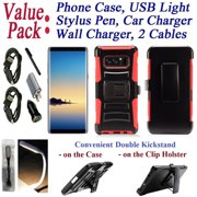"Value Pack Cables Chargers + for 6.3"" Samsung Galaxy Note 8 note8 Case Phone Case Clip Holster 2 Kick Stands Hybrid Armor Shock Bumper Cover Red"