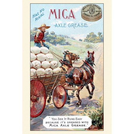Victorian trade card for axle grease You see it runs easy because its  greased with Mica Axle Grease The card shows a fully laden horse and wagon  with