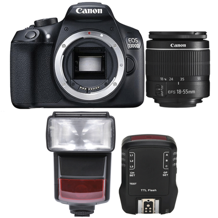 Canon EOS 1300D / Rebel T6 18MP Digtal SLR Camera with EF-S 18-55mm IS STM  Lens , TTL Speedlite Flash and Accessory Kit