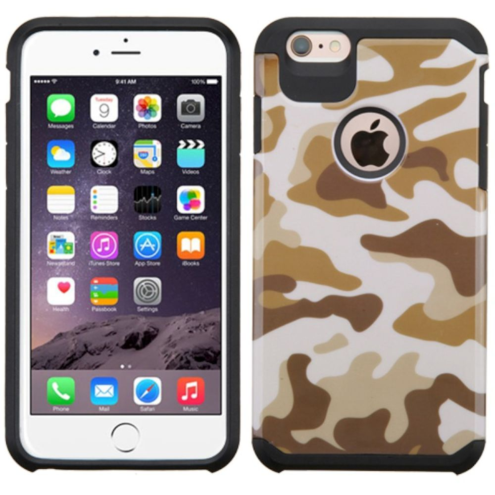 Insten Camouflage Hard Dual Layer Rubberized Silicone Cover Case For Apple iPhone 6 Plus/6s Plus - Brown/Black - image 3 de 3