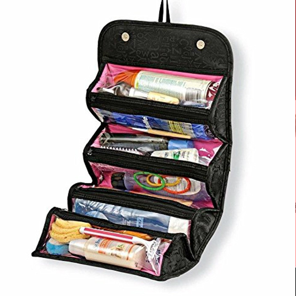 Women's Good-Quality Travel Cosmetic Bag Roll Up Makeup Toiletry Bags