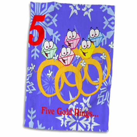 Christmas Five Golden Rings (3dRose 12 Days Of Christmas Five Golden Rings - Towel, 15 by)