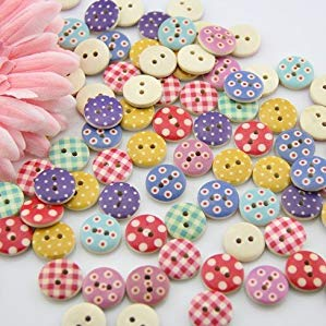 - 100pcs Mixed Wooden Buttons in Bulk Buttons for Crafts Button Round Colorful Painting Buttons Bu-91