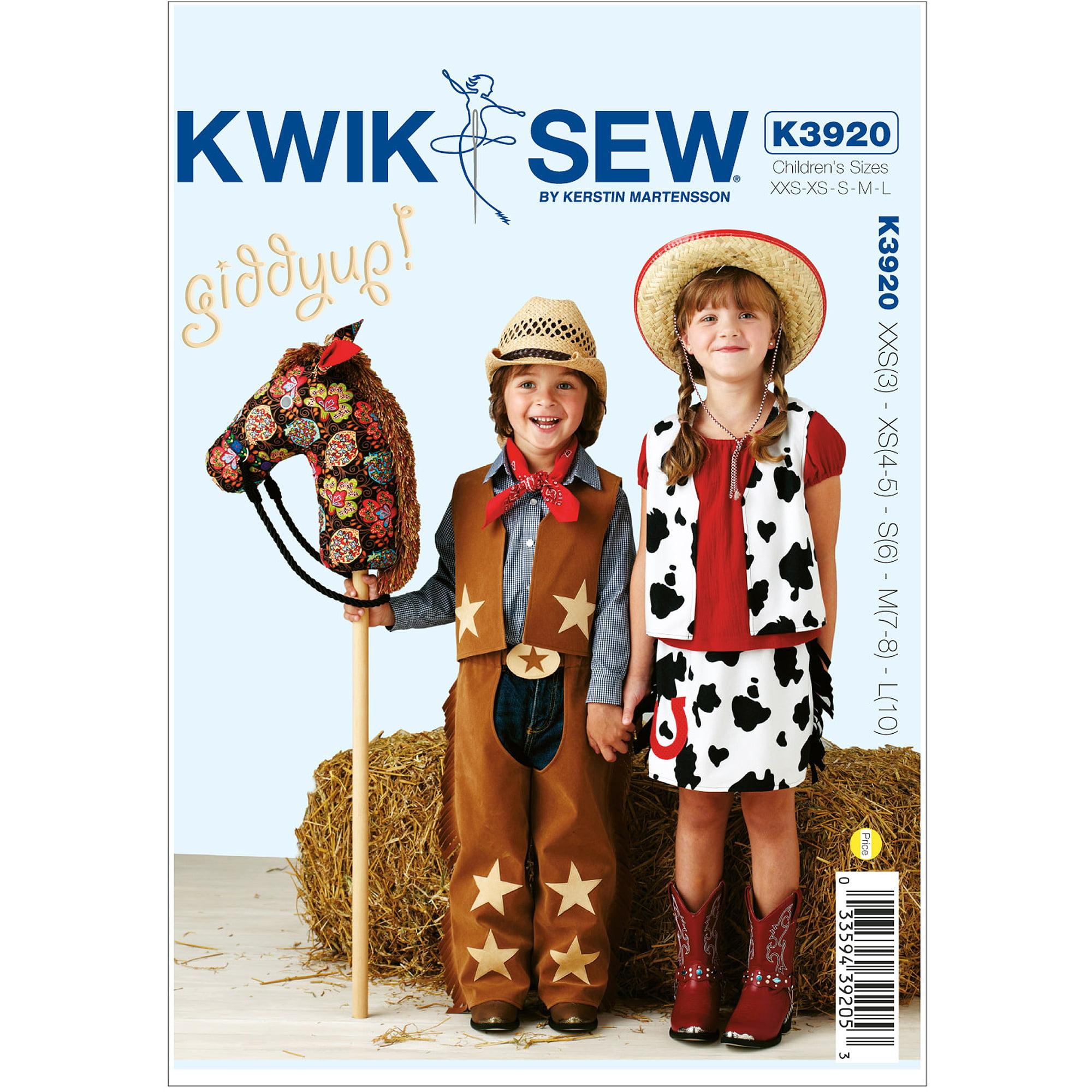 Kwik Sew Pattern Giddyup Chaps, Vest, Skirt and Pony, XXS(3), XS (4, 5), S (6), M (7, 8), L (10)