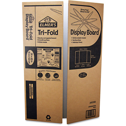 "Elmer's Corrugated Display Board, 48"" x 36"", White, 25-Carton"