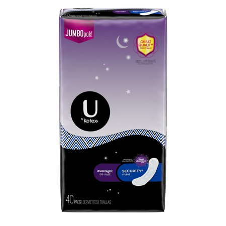 - U by Kotex Security Maxi Overnight Pads, Regular, Unscented, 40 Count