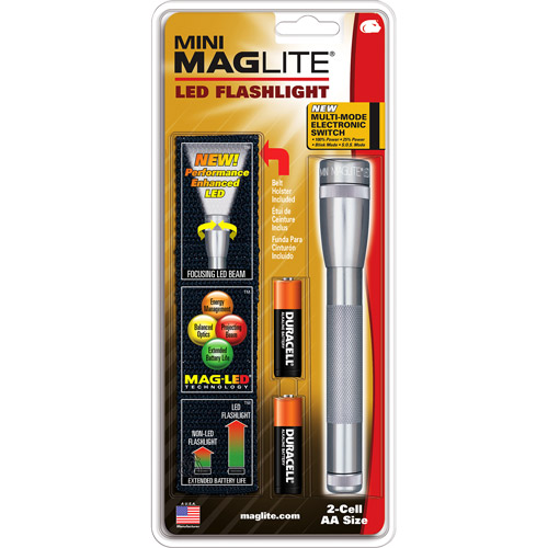 Mini MagLite LED 2-Cell AA Flashlight, Gray