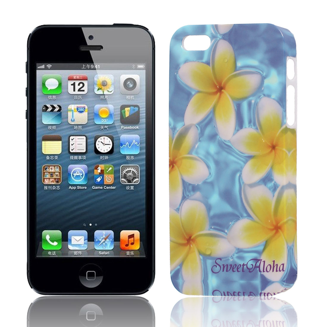 Unique Bargains Yellow White Flower Print Hard TPU Protective Back Case Cover for iPhone 5 5G 5S