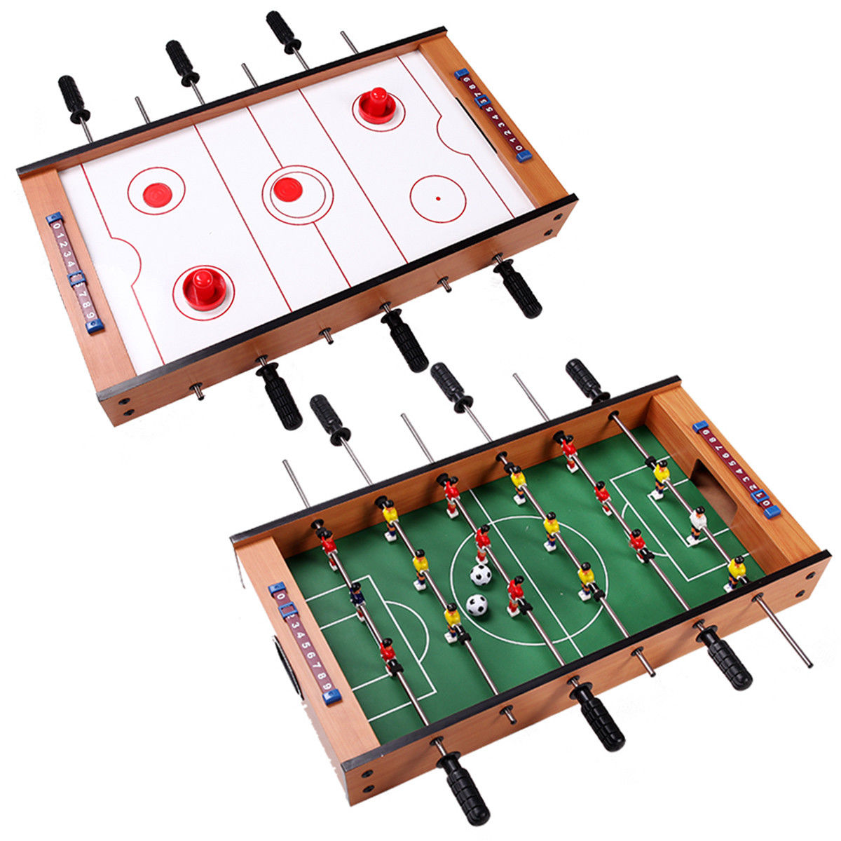 Costway 2 In 1 Table Game Air Hockey Foosball Table Christmas Gift For Kids In Outdoor by Costway