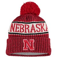 Nebraska Cornhuskers New Era Team Logo Sport Cuffed Knit Hat with Pom - Scarlet - OSFA