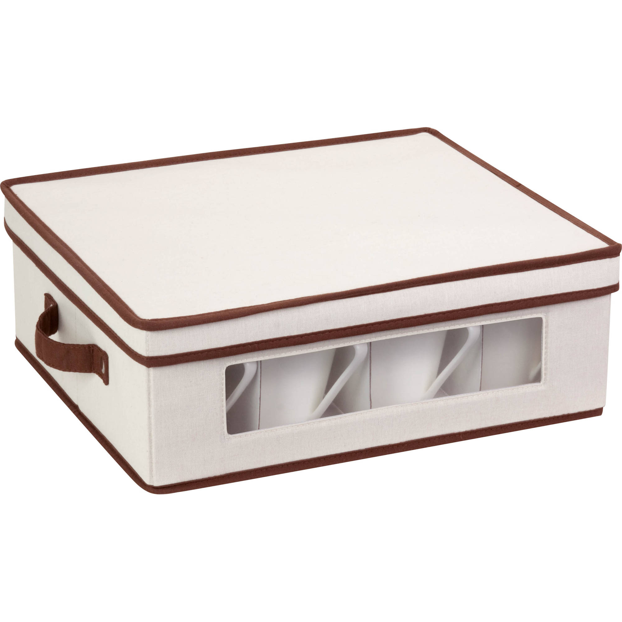 Honey Can Do Large 25lb Capacity Canvas Window Storage Box, Beige/Brown