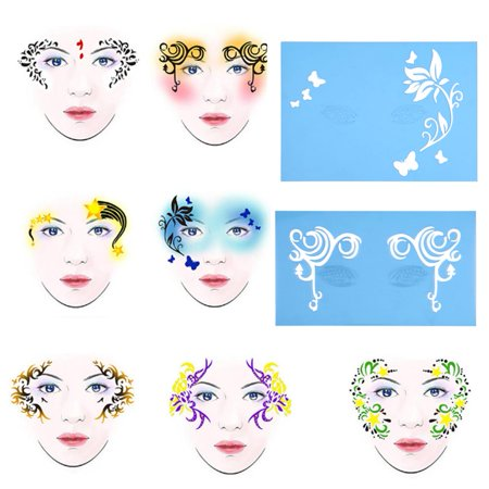 7styles/set Reusable Face Paint Stencil Body Painting Template Flower Butterfly Facial Design, Body Painting Template, Flower Butterfly Stencil