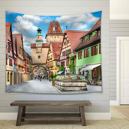 wall26 - Beautiful View of The Historic Town of Rothenburg Ob Der Tauber, Franconia, Bavaria, Germany - Fabric Wall Tapestry Home Decor - 51x60 inches