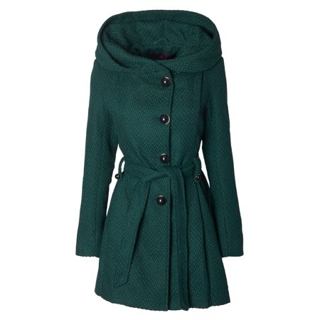 Sportoli Womens Single Breasted Wool Blend Belted Winter Dress Drama Coat with Hood
