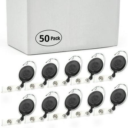 GOGO 50PCS Wholesale Retractable Carabiner Badge Holder ID Card Lanyard-Black Without Back Splint](Lanyards Wholesale)