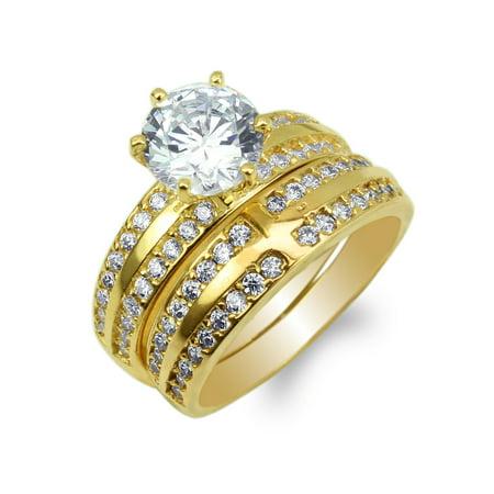 Round Set Cross (JamesJenny Duo Ladies 10K Yellow Gold Round CZ Cross Engagement Ring Set Size 4-10 )