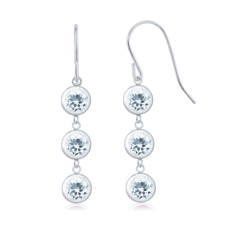 2.70 Ct Round Sky Blue Aquamarine 925 Sterling Silver Earrings