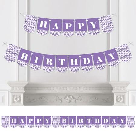 Purple Birthday Banner (Chevron Purple - Birthday Party Bunting Banner - Purple Party Decorations - Happy)