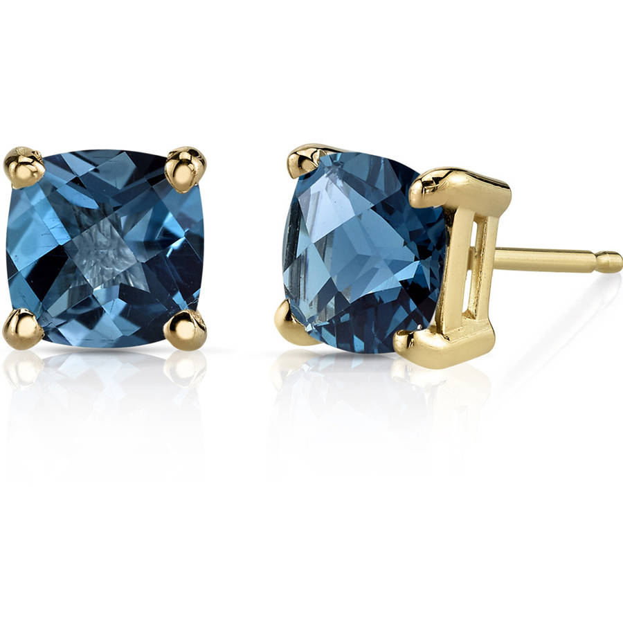 Oravo 2.25 Carat T.G.W. Cushion-Cut London Blue Topaz 14kt Yellow Gold Stud Earrings