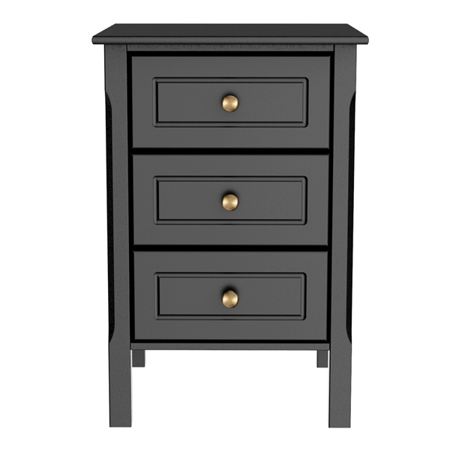 3 Piece Bedroom Table (Topeakmart Black Gloss 3 Drawers Bedside Table Cabinet Stylish Nightstands with Silver Handle Bedroom Furniture Black )