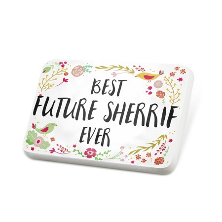 Porcelein Pin Happy Floral Border Future Sherrif Lapel Badge – NEONBLOND](Sherrif Badges)