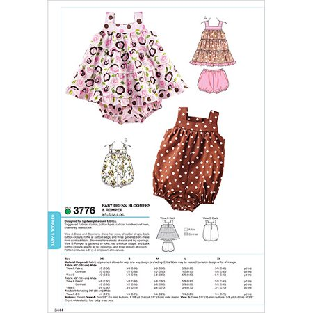Kwik Sew Pattern Dress, Bloomers and Romper, (XS, S, M, L, XL)