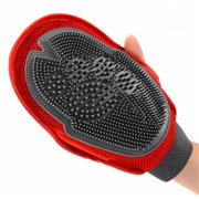 2-in-1 Pet Glove Grooming Tool + Furniture Pet Hair Remover Mitt - For Cat & Dog - Long & Short Fur - Gentle Tips